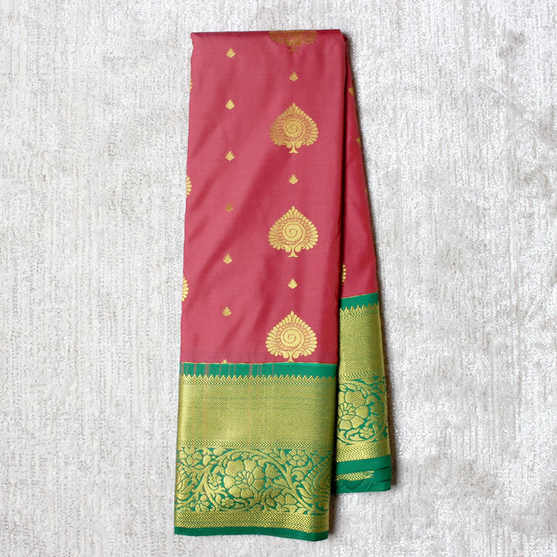 Kuberan Pink Green Semi Silk Saree