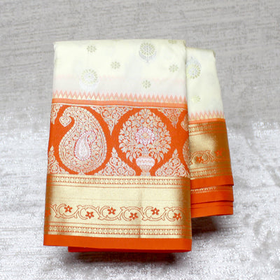 Kuberan Cream Orange Semi Silk Saree