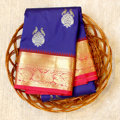 Kuberan Royal Blue Pink Semi Silk Saree