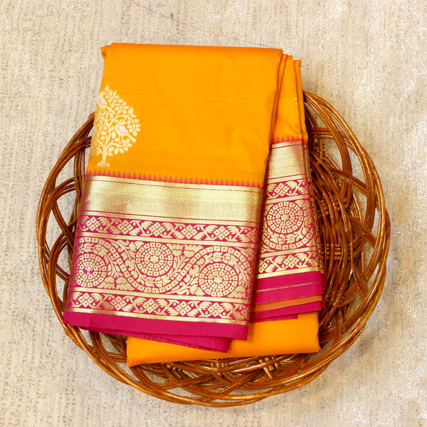 Kuberan Yellow Pink Semi Silk Saree