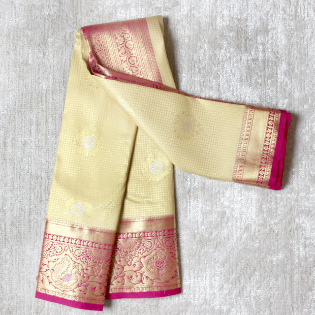 Kuberan Cream Pink Semi Silk Saree