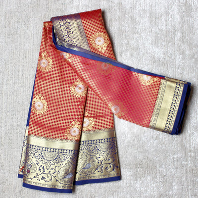 Kuberan Red Blue Semi Silk Saree