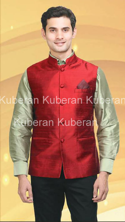 Kuberan Red Raw Silk Modi Jacket