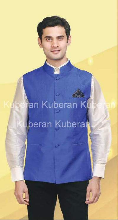 Kuberan Royal Blue Raw Silk Modi jacket