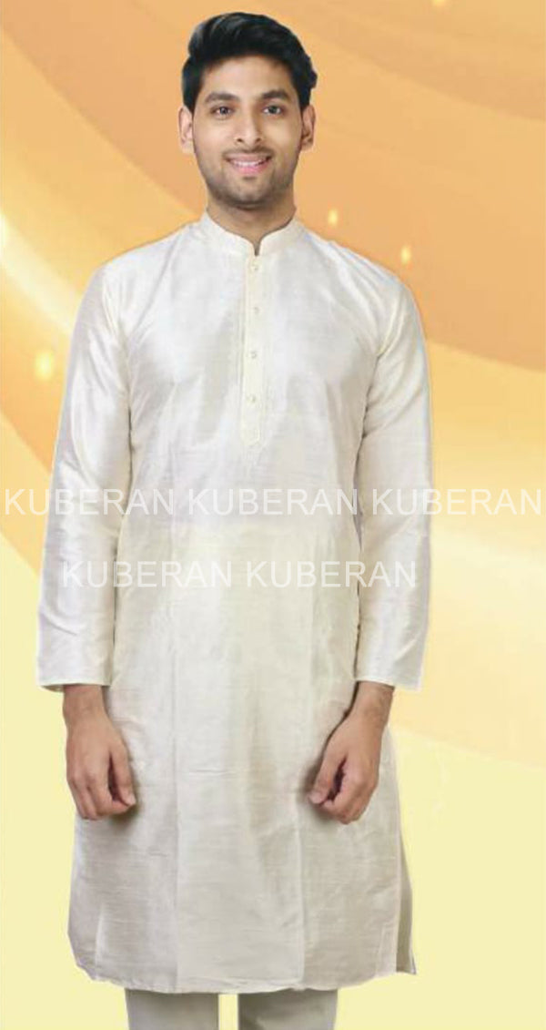 Kuberan Off White Raw Silk Kurta