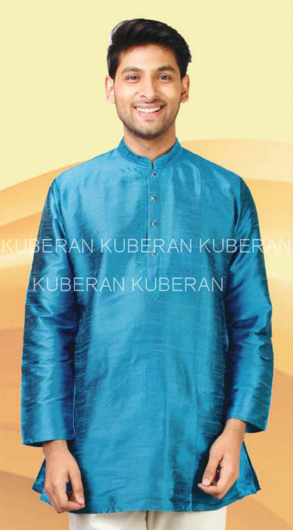 Kuberan Bermuda Blue Raw Silk Shirt