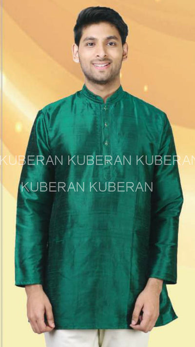 Kuberan Black Green Raw Silks Kurta