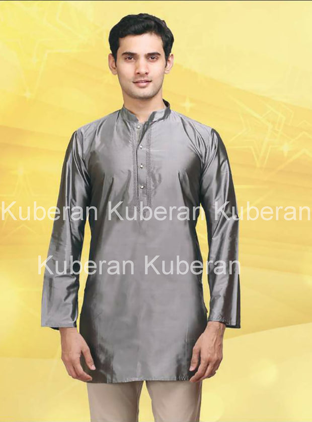 Kuberan Grey Raw Silks Kurta