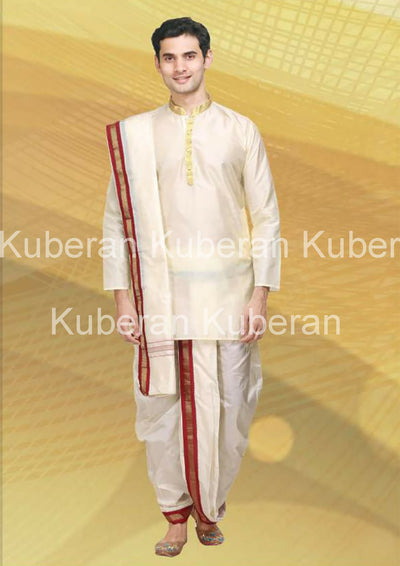 Kuberan Cream Raw Silks Kurta
