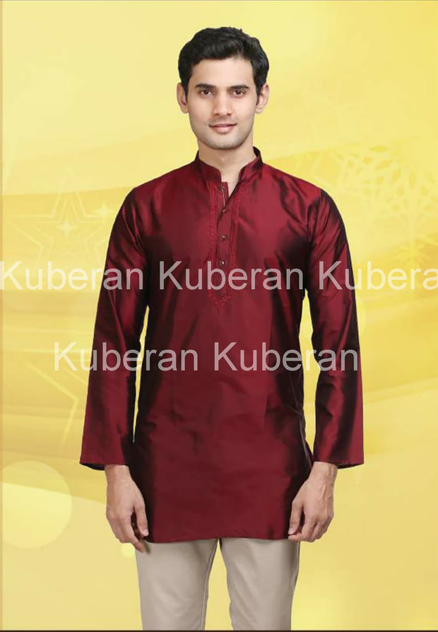 Kuberan Chili Red Raw Silks Kurta
