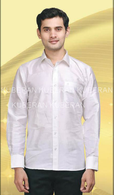 Kuberan White Raw Silks Shirt