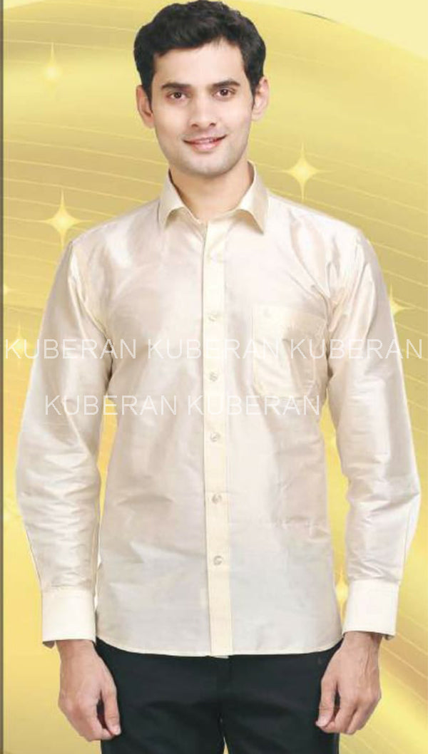 Kuberan Cream Raw Silks Shirt
