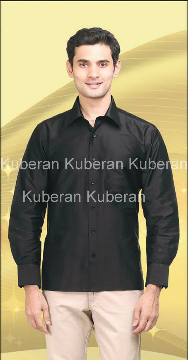 Kuberan Black Raw Silks Shirt