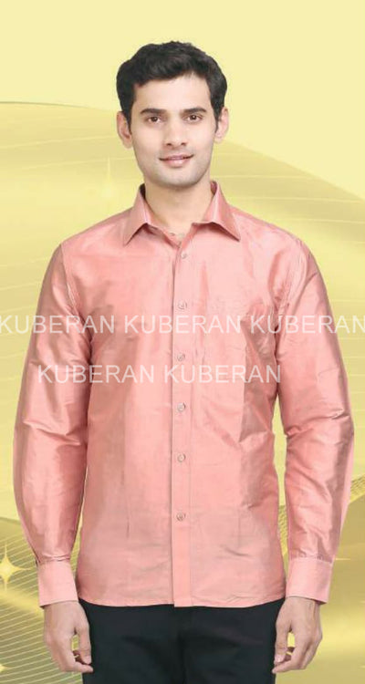 Kuberan Pink Raw Silks Shirt