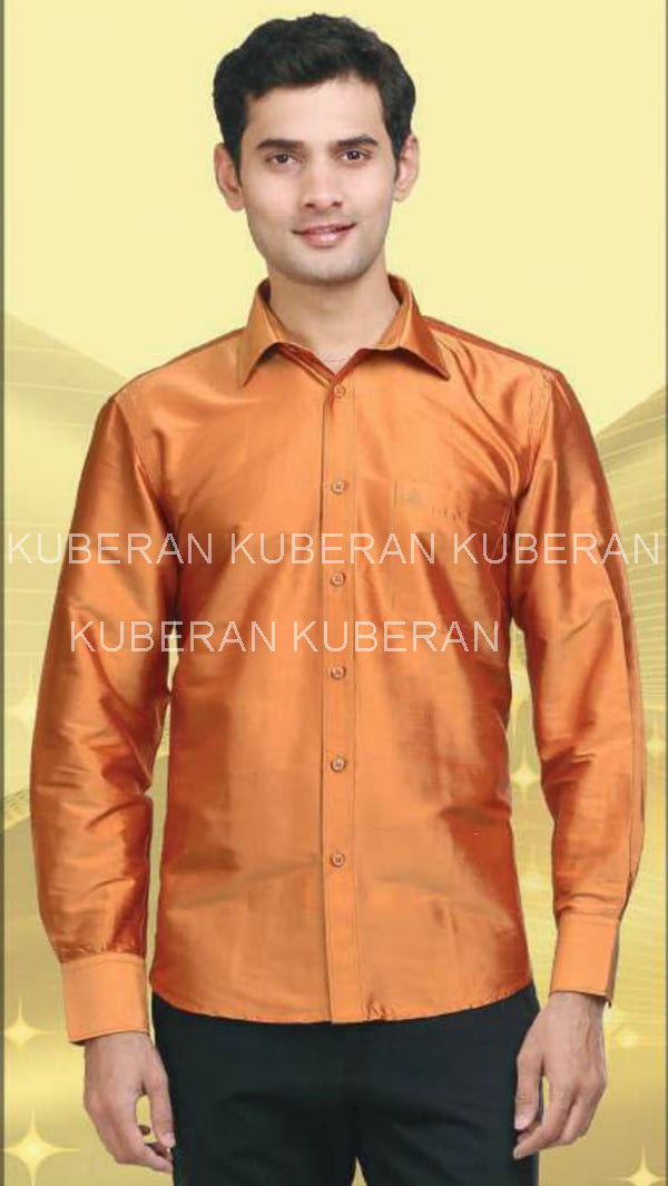 Kuberan Orange Raw Silks Shirt