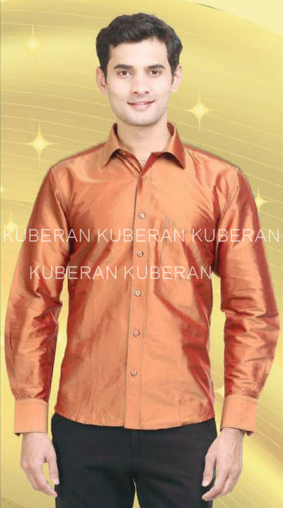 Kuberan Orange Pink Raw Silks Shirt
