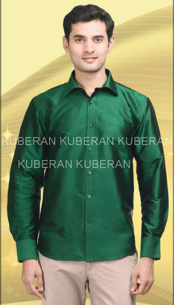 Kuberan Cedar Green Raw Silks Shirt