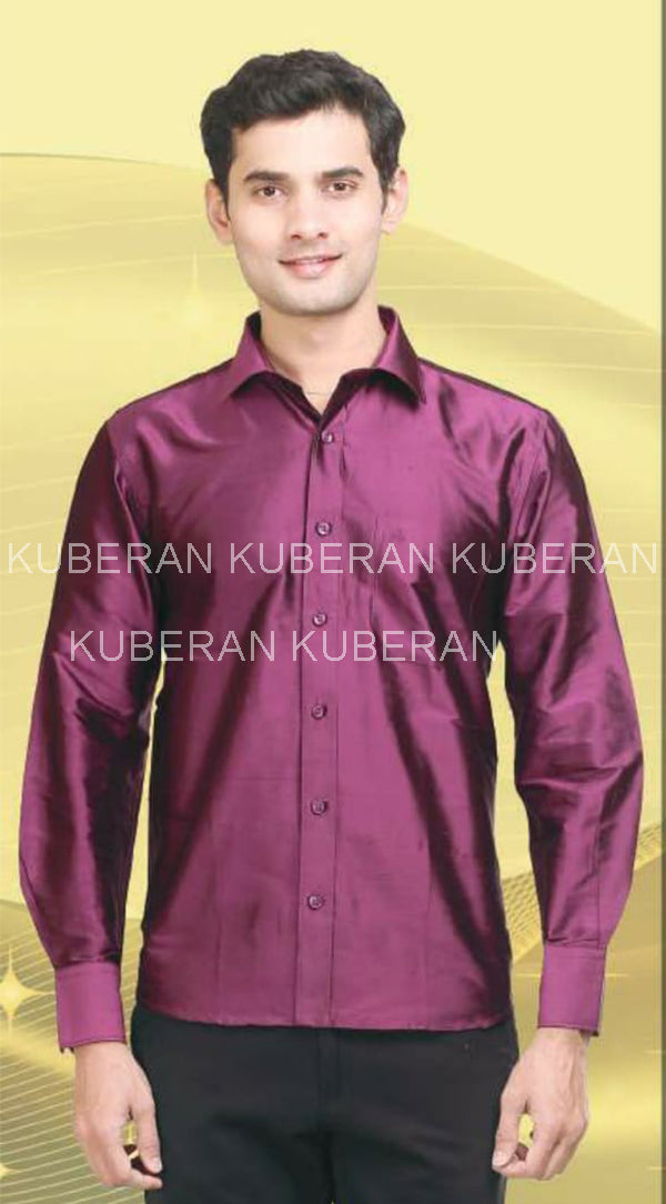 Kuberan Aubergine  Raw Silks Shirt