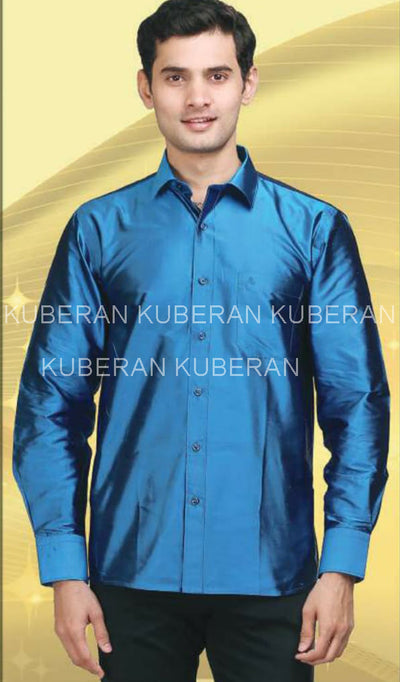 Kuberan Azure Blue Raw Silks Shirt