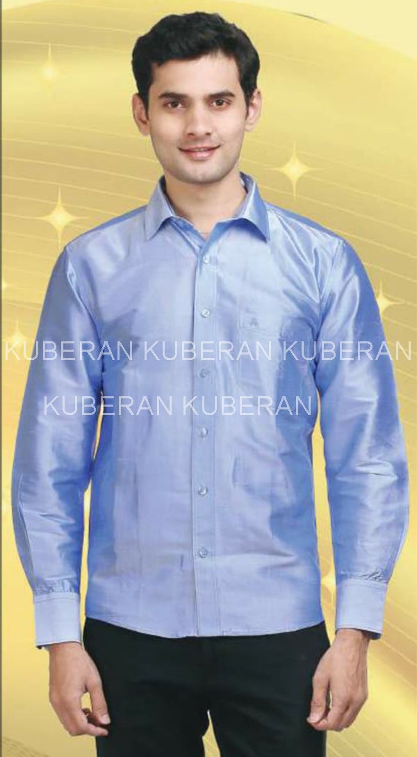 Kuberan Azure Sky Bluue Raw Silks Shirt