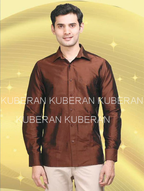 Kuberan Coffee Raw Silks Shirt