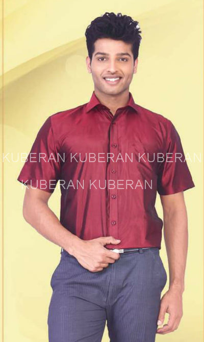 Kuberan Dark Red Raw Silk Shirt