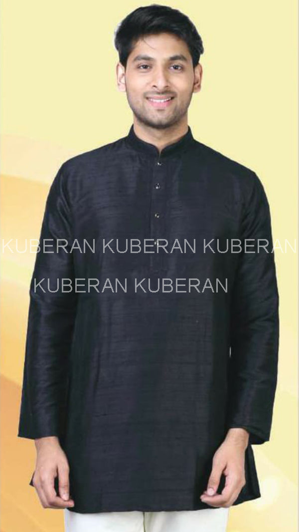 Kuberan Black Raw Silks Kurta