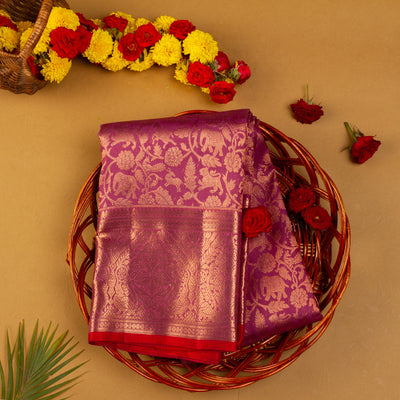 KUBERAN WINE KANCHIVARAM SILK SAREE