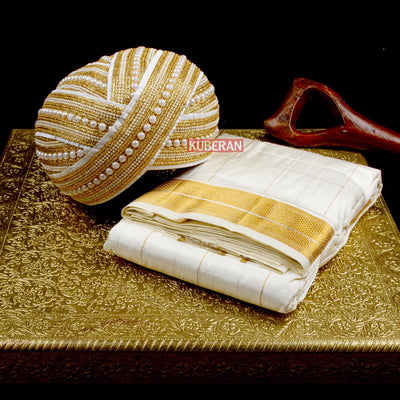 Kuberan Combo White Dhoti and Golden White Mysore Peta