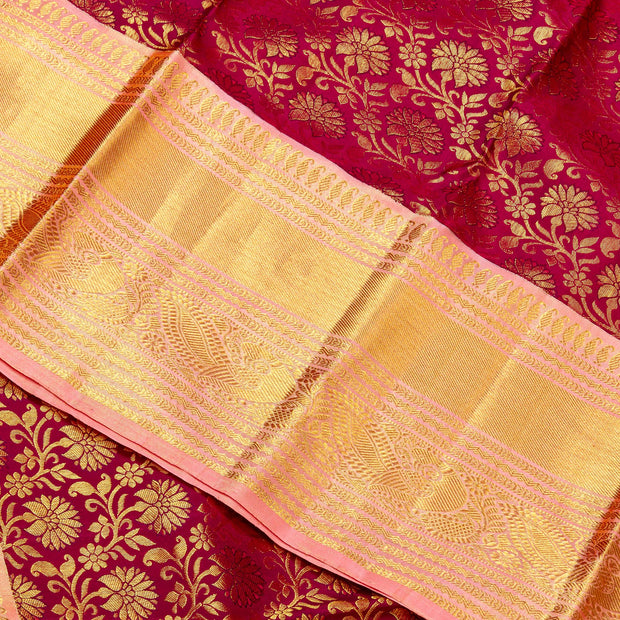 KUBERAN  MAROON WITH ONION PINK BORDER KANCHIVARAM SILK SAREE