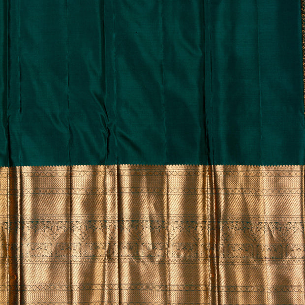 KUBERAN BOTTEL GREEN KANCHIVARAM SILK SAREE