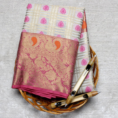 Kuberan Grey Pink Kota Cotton Saree