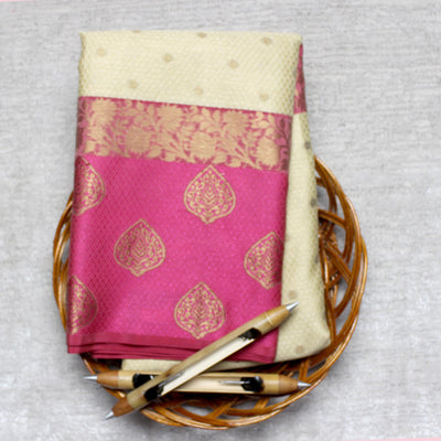 Kuberan Cream Pink Cotton Saree