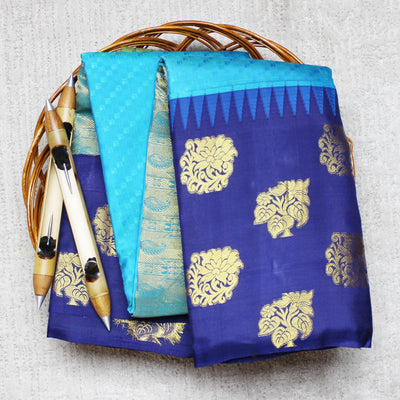 KUBERAN BLUE WITH ROYAL BLUE BORDER SILK SAREE