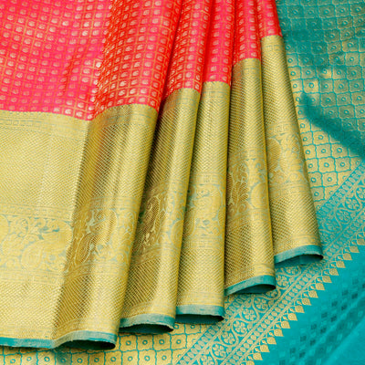 Kuberan Orange Pink Kanchivaram Silk Saree
