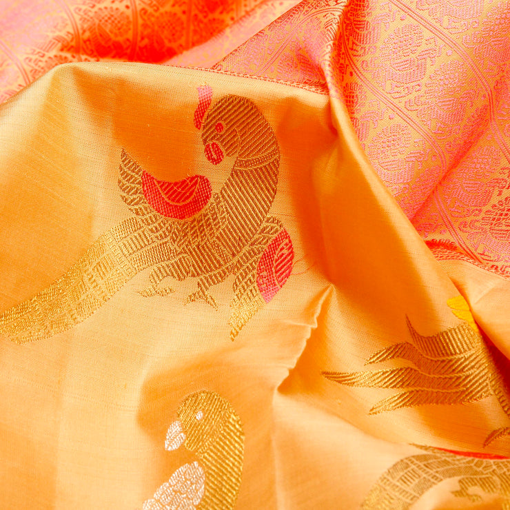 Kuberan Off Beige Pink Kanchivaram Silk Saree