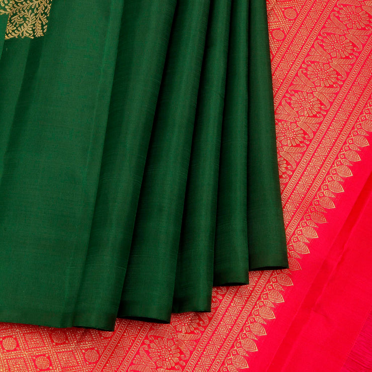 Kuberan Green Pink Kanchivaram Silk Saree