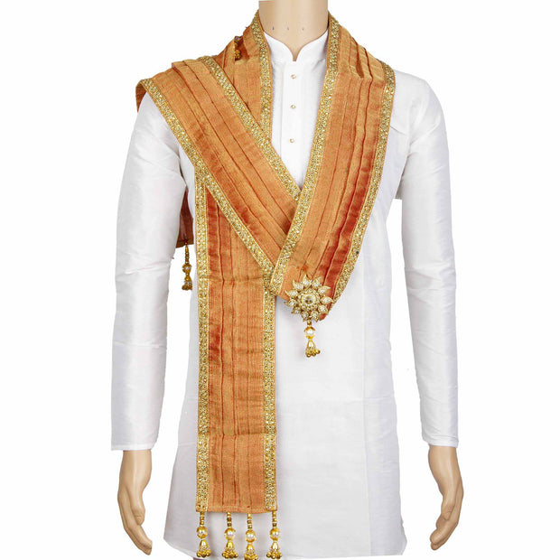 Kuberan Peach Gold Wedding Stole
