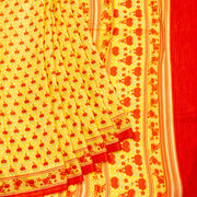 Kuberan Yellow Red Habotai Pure Silk Saree