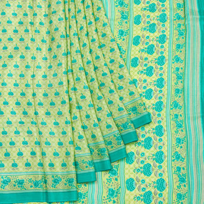 Kuberan Lime Habotai Pure Silk Saree