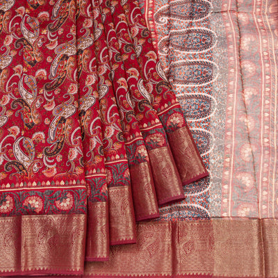 Kuberan Reddish Tussar Pure Silk Saree