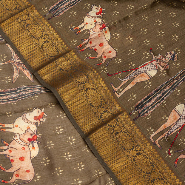 Kuberan Elephant Grey Tussar Pure Silk Saree