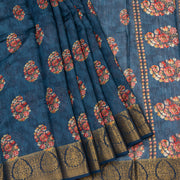 Kuberan Charcoal Blue Tussar Pure Silk Saree