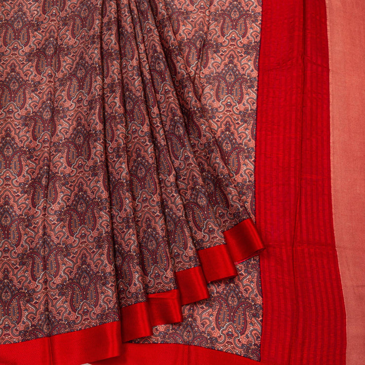 Kuberan Brown Pure Crepe Silk Saree