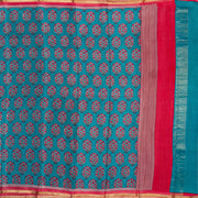 Kuberan Blue Pink Pure Crepe Silk Saree