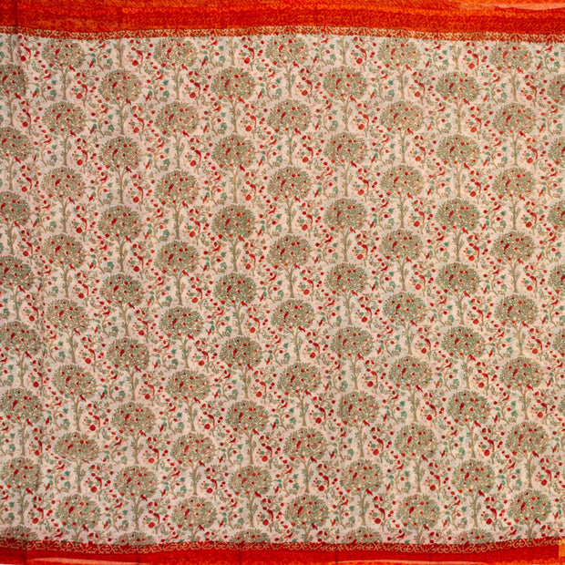 Kuberan Cream Orange Pure Chiffon Silk Saree