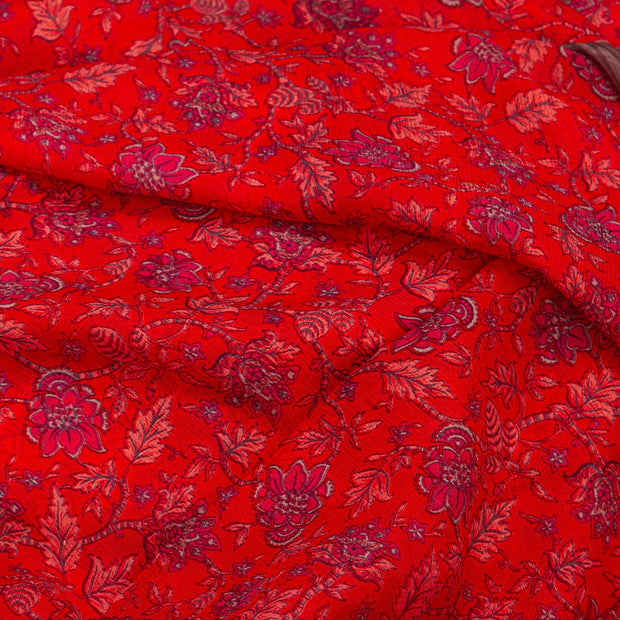 Kuberan Red Pure Chiffon Silk Saree