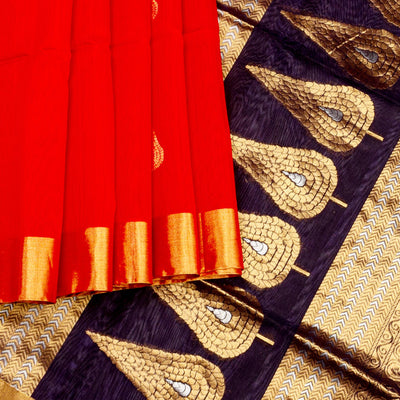 Kuberan Red Maheshwari Saree