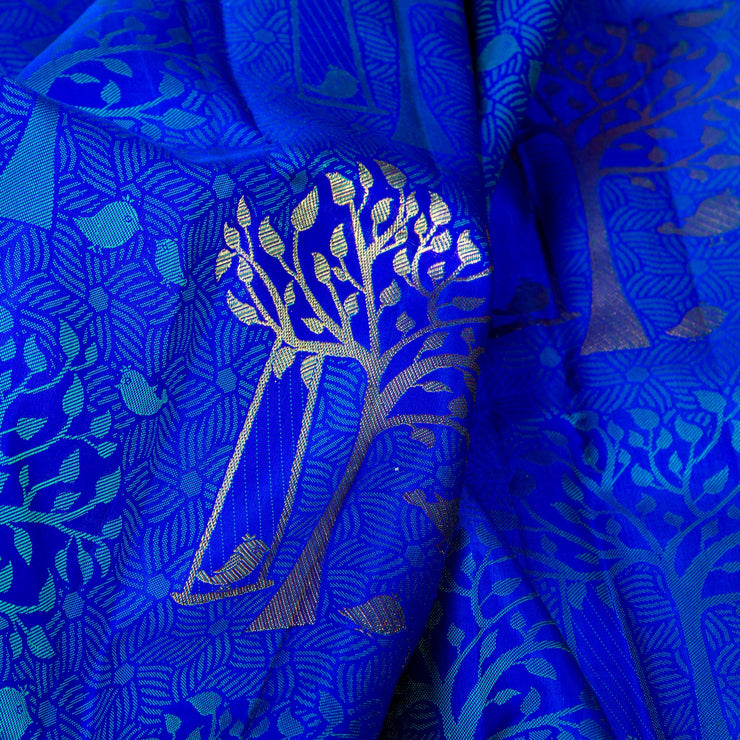 Kuberan Blue Red Kanchivaram Silk Saree