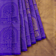 Kuberan Royal Blue Beige Kanchivaram Silk Saree